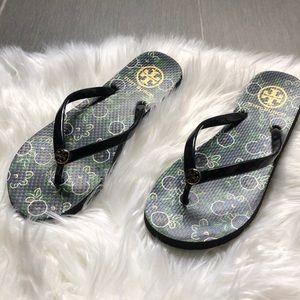Tory Burch Flip Flop Sandals Floral Print Sz 8.5